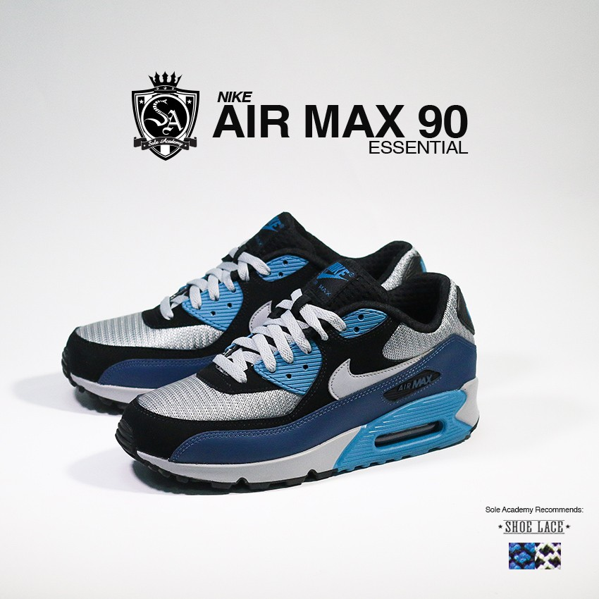 "NIKE AIR MAX 90 ESSENTIAL ""Sqdrn Bl/Wlf Gry-Blk"""